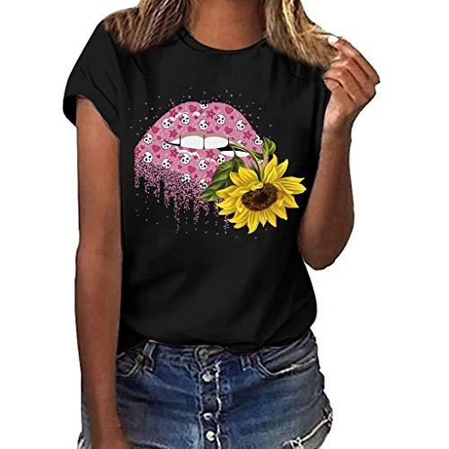 DIPOLA Damen Kurzarm T-Shirt mit großem Aufdruck Top Lippendruck Lässiges wildes Top