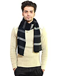 513 Striped knitted winter soft and warm men's black muffler