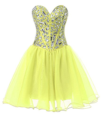Vantexi Frauen Kristall Kurz Abendkleid Ballkleid Partykleid Gelb