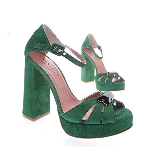 Twin-set Simona Barbieri CPS4C2 Sandalo Gioiello Donna 100% Camoscio Verde Verde 37