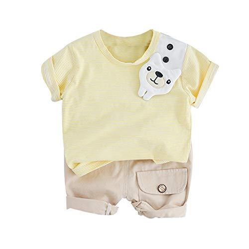 Julhold Kleinkind Baby Kind Jungen Mode Baumwolle Cartoon Bär Streifen Tops Feste Tasche Shorts Hosen Outfits 0-2Jahre