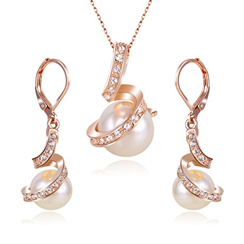 Clearine Damen Delicate Elegant CZ Cream Künstliche Perlen Spiral Filigran Pendant Halskette Dangle Ohrringe Set Rose-Gold-Ton