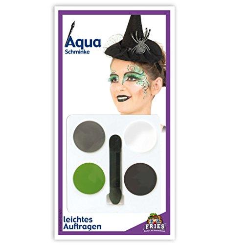 HALLOWEEN Aqua Schmink-Set Hexe Horror Schminke Set 5tlg 4 Tiegel + (Potter Kostüme Halloween Einfach Harry)