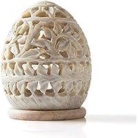 Portavelas con forma de huevo y diseño de flores de StarZebra con piedras de jabón