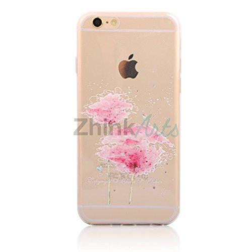 Handy Hülle mit Motiv Case Cover Silikon Schutzhülle TPU von ZhinkArts für Apple iPhone 7 Pusteblume Weiß M14 Blume M20