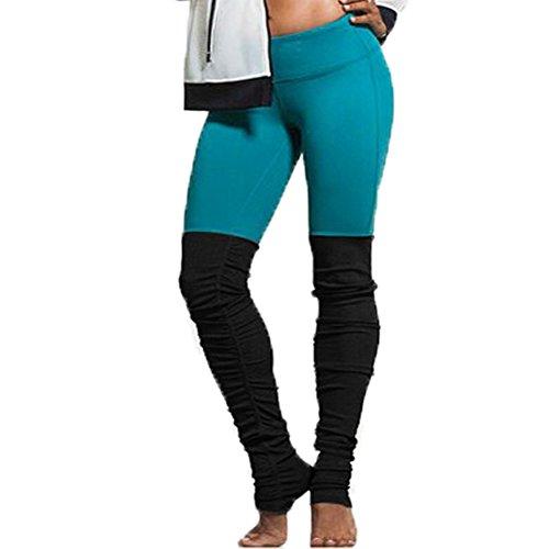 WintCO Pantalons des Femmes Legging à Pied Sportif de Yoga dEntraînement Pants Elastique Indéformable Jogging Couleurs Jointifs Noir&Bleu