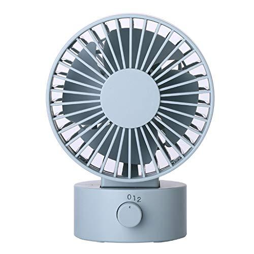 Deloito Tischventilator Geräuschlos USB Wiederaufladbar Ventilator Kühlung Kleiner Fan 2 Geschwindigkeiten Kopfschütteln Mini Lüfter (C1) -