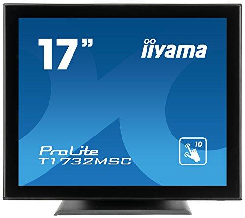 iiyama Prolite T1732MSC-B5X 43cm (17 Zoll) LED-Monitor SXGA 10 Punkt Multitouch kapazitiv (VGA, HDMI, DisplayPort, USB für Touch, IP54) schwarz