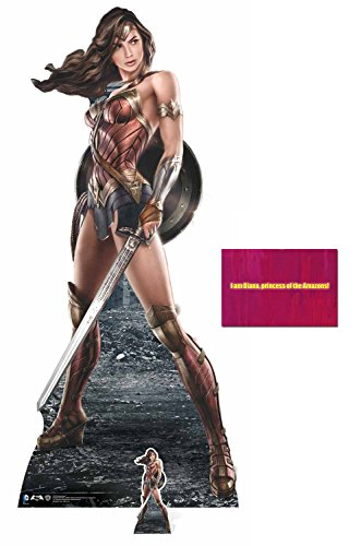 Fan Pack - Wonder Woman holding Sword and Shield Lebensgrosse und klein Pappfiguren / Stehplatzinhaber / Aufsteller - Enthält 8X10 (25X20Cm) starfoto (Dekorationen Woman-party Wonder)