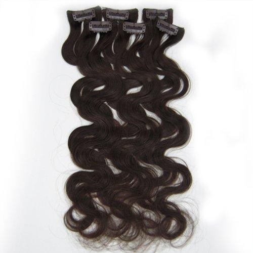 Cheveux ondulés 45,7 cm Marron foncé (# 02) Extension de cheveux à clipser 100% cheveux humains Remy Lot de 6 poids 36 g