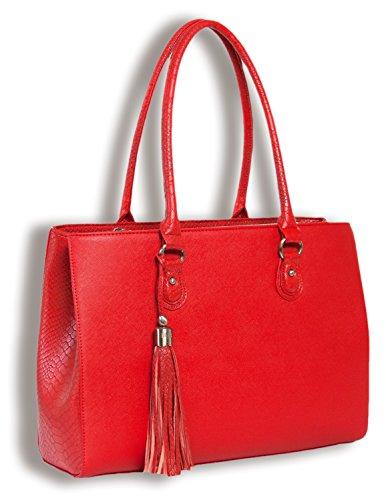Handgefertigte Designer-handtaschen (BFB Reise Tote Bag - Leichte, handgefertigte Designer Laptop und Tablet Schultertasche - Rot - by My Best Friend Is A Bag)
