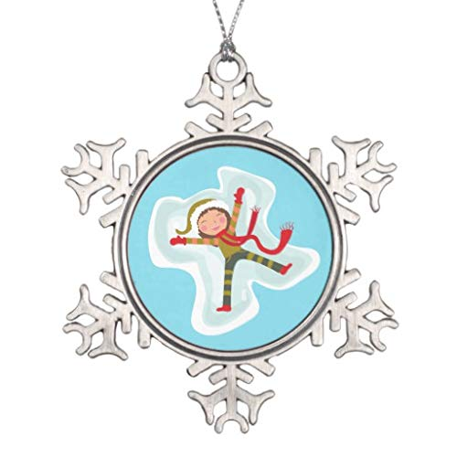 Vehfa Decorations Personalisierte Ornamente Happy Girl Making Snow Angel Tree Ornament Schneeflocke Zinn Weihnachten Ornament