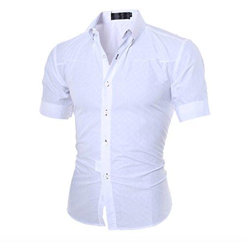 Homme Carreaux Chemise d'été habillée Décontractée Manches Courtes Collante Blanc