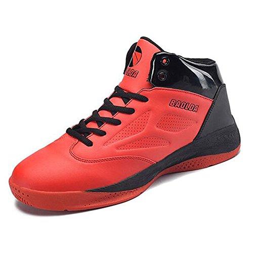 GESIMEI Chaussures de Course Chaussures de Sport-Basketball Homme Respirant High Top Rouge
