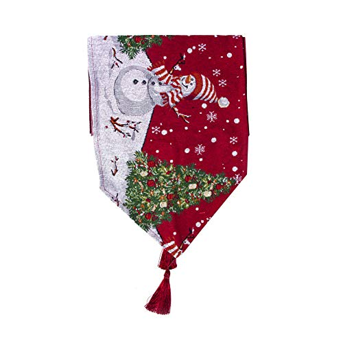 Natale Poliestere Cotone Runner con Stampa Tovaglia Bandiera con Pupazzo di Neve Modello Biancheria da tavola per Le Decorazioni Natalizie B Style