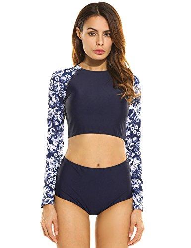 Ekouaer Damen reizvolles Bikini-set High Waist langer Hülsen Badeanzüge O-Ausschnitt Sonneschutz Zwei Stück Bademode Schwarz/Dunkelblau/Grün((S-XL) (Badeanzug Lange Damen)