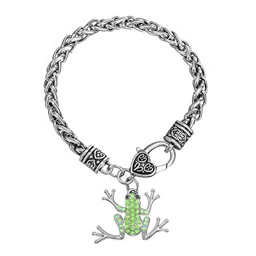 Chapado en plata cristal verde rana de árbol encanto pulsera para niñas Fashion joyas