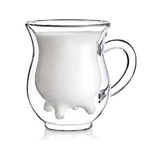 niceeshop(TM) Cute Calf and Half Transparent Heat-Resisting Double-layer Glass Cup/Creamer Pitcher
