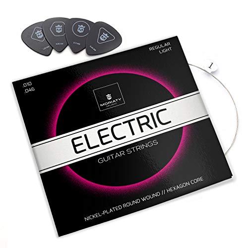 MORIATY® E-Gitarren-Saiten - Premium Stahl-Nickel E-Gitarren Saiten (7 Saiten-Set) | INKLUSIVE: 4 Plektren + Extra hohe E-Saite