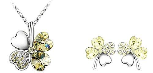 Wonvin Frauen Schmucksache gesetzte gelbe Kristall süße vier Blatt Kleehalsketten Ohrringe 18K weiße Goldkette