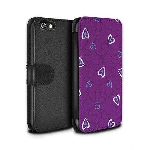Stuff4 Coque/Etui/Housse Cuir PU Case/Cover pour Apple iPhone SE / Jaune/Vert Design / Coeur Vigne Motif Collection Violet/Bleu