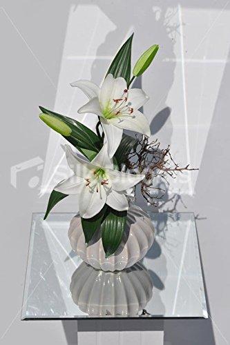 Silk blooms ltd white oriental lily & rami bonsai vaso reale display