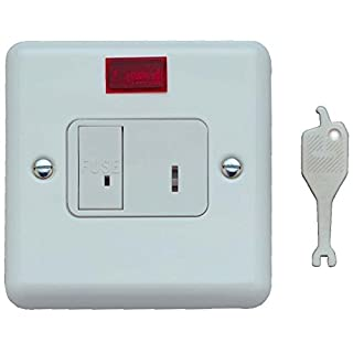 Contactum CLA3467WS 13A Fused Key Switch, DP Neon Flush Mounting White