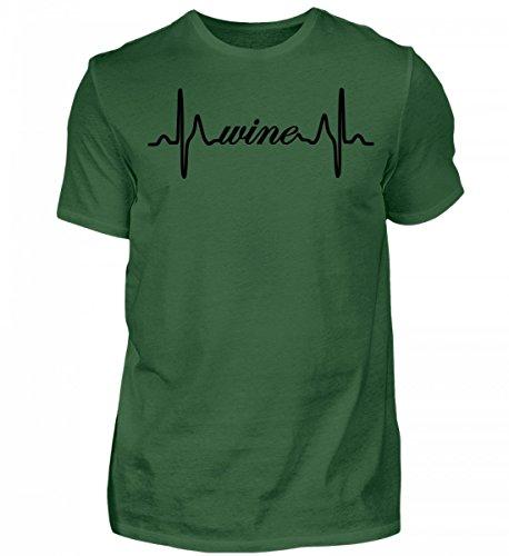 Wein-grünes T-shirt (Wein Liebhaber Geschenk EKG Herzschlag T-Shirt Pullover Hoodie - Herren Shirt)