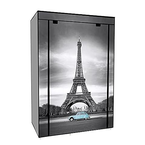 Kleiderschrank Faltschrank Stoffschrank Grau Eiffelturm 105X45X158cm
