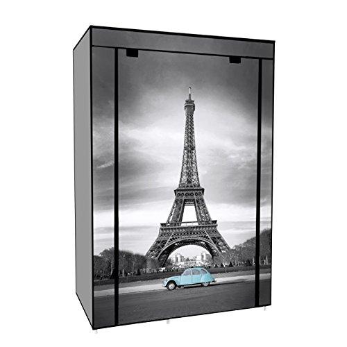Kleiderschrank Faltschrank Stoffschrank Grau Eiffelturm 105X45X158cm (Kleid Schicke Frisch)