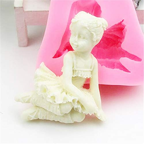 AchidistviQ Silikon-Kuchen-Dekorationswerkzeug-Engels-Mädchen-Form-Schokoladen-Backform Pink