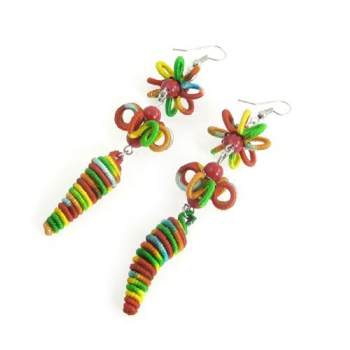 sourcingmapr-frauen-bunte-paprika-spirale-floral-geformte-anhanger-fisch-haken-ohrringe
