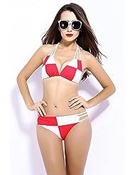 AMYMGLL Été maillot de bain dames européenne et américaine bikini costume sexy blanche à carreaux bikini multicolore