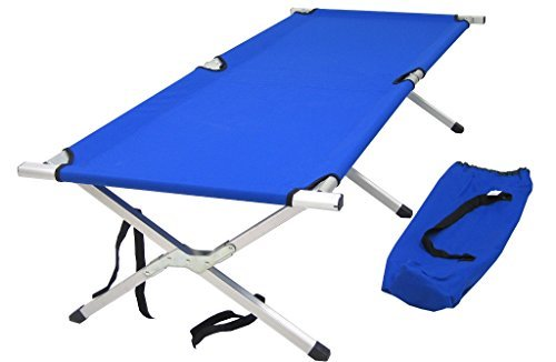Lettino brandina prendisole pieghevole alluminio tela blu per mare campeggio