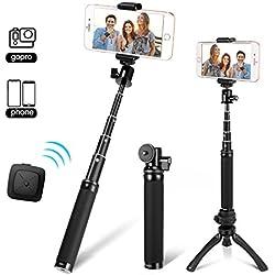Fotopro Perches Selfie, Selfie Stick avec Mini Trépied, Trépied Monopode avec Télécommande, Adaptateur de Téléphone pour iPhone Huawei Xiaomi One Plus Gopro