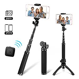 Fotopro Bastoni Selfie, Selfie Stick e Mini Treppiede 3-in-1, Mini Treppiede Set Selfie Stick, Adattatore Mobile Phone, Bluetooth Remote Shutter per Gopro, iPhone,Samsung ed Altri Smartphone, 4F