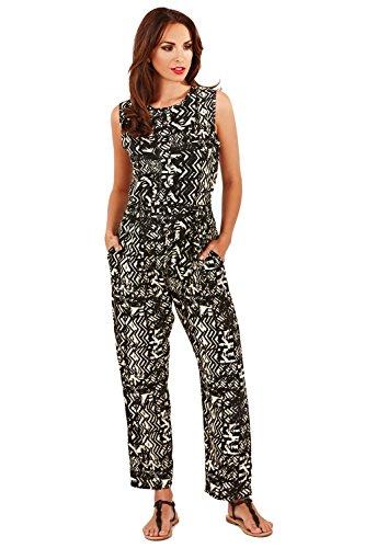 Pistachio Damen Bandeau Jumpsuit, Geblümt schwarz schwarz Small Black/ Cream - Aztec Print