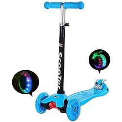 IMMEK Scooter avec 3 Roues Scooter avec lumières LED Barres de Hauteur réglable 60cm-83cm, Parfait pour Les Enfants âgés de 3 Ans et Plus poignées réglables et Construction légère
