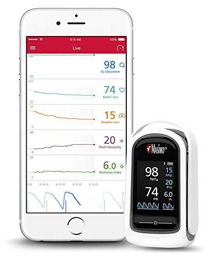 MASIMO - MightySat Finger Pulsoximeter inkl. Bluetooth-Funktion I Akkurates Finger-Messgerät I Sauerstoffsättigung I Herzfrequenz I Pulsfrequenzmessung auch in Bewegung I Datensynchronisation in App
