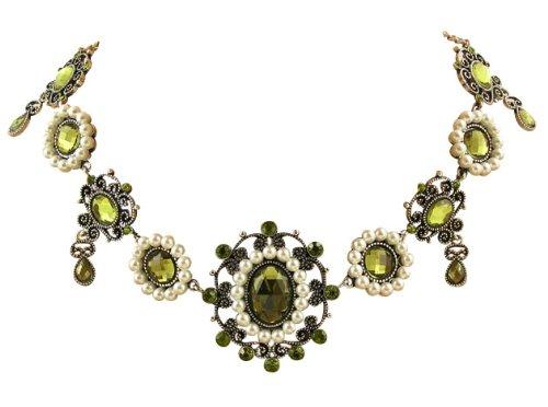 TrachtExemplar® Trachtenschmuck Renaissance Tudor Dirndl Collier - für Dirndl, Gothic, Larp - Grün