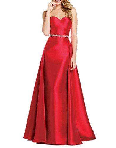 Royaldress Rot Einfach Taft Geraft Abendkleider Partykleider Abschlussballkleider Schmaler Schnitt Lang Rot
