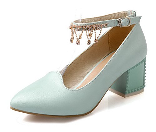 Damen Schnalle Hoher Absatz PU Leder Rein Spitz Zehe Pumps Schuhe, Blau, 41 AllhqFashion