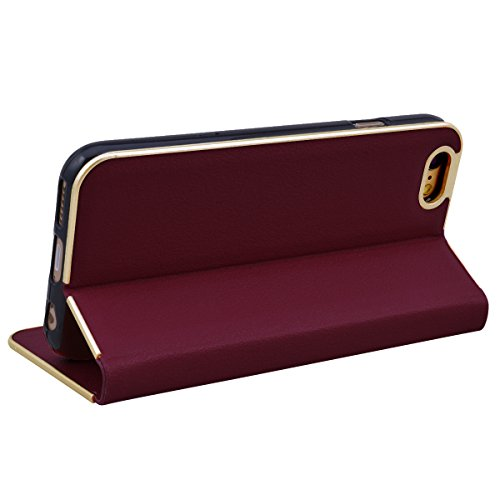 SMART LEGEND Lederhülle für iPhone 6S/iPhone 6 Ledertasche Hülle Braun Metall Rahmen Schutzhülle Premium PU Leder Flip Case Protective Cover Innere Weiche Silikon Bookcase Handy Tasche Schale mit Kart Lila