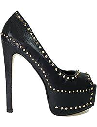 High Heels Plateau Pumps Peep Toe mit Stiletto Absatz und Nieten schwarz 10392