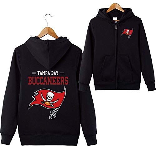 odies Tampa Bay Buccaneers NFL Football Team Uniform Muster Digitaldruck Strickjacke Reißverschluss Liebhaber Kapuzenpullis(L,Schwarz) ()