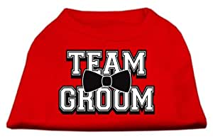 Mirage Pet Products 10-Inch Team Groom Screen Print Shirt for Pets, Small, Red