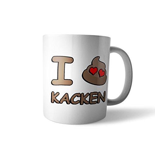 Kaffee-Becher - Tasse 'I Love Kacken' / Kackhaufen   Smiley Emoticon Geschenk, Design 1, Farbe:Weiß