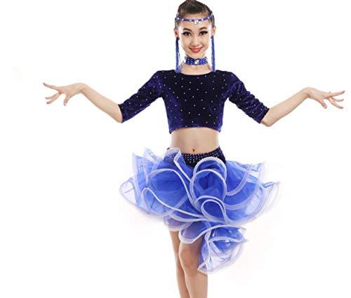 Tanz Kostüm Wettbewerbs Moderne - SMACO Kinder Tanzen Kostüme, Latin Kostüm Chiffon Wrap Rock Dance Kostüm Tanz Kostüm Wettbewerb,Blue,110CM