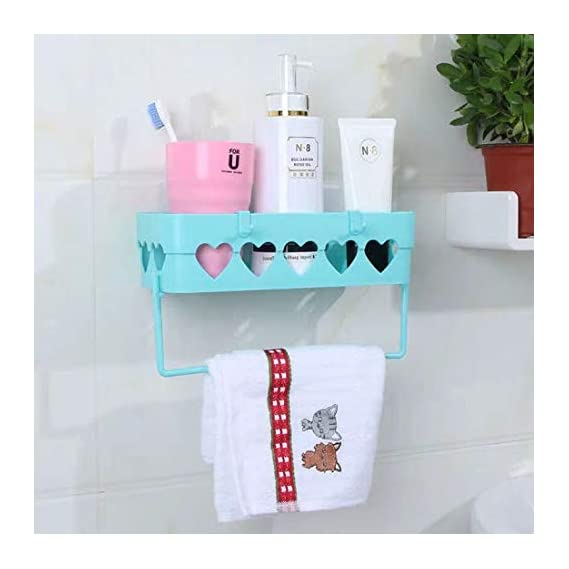 BATH CUBE/HOME CUBE Magic Sticker Multipurpose Kitchen Bathroom Shelf Wall Storage Holder with Towel Hook (Random Colour, Standard, 1)