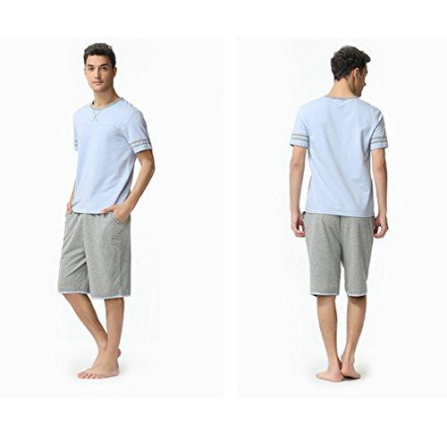 LvRao Damen Und Herren Sommer Nachtwäsche Pyjama Sets Atmungsaktiv Liebhaber Baumwolle Nachthemden Pajamas Schlafanzüge Herren Hellblau